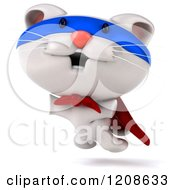 Clipart Of A 3d White Super Kitten Jumping Royalty Free CGI Illustration