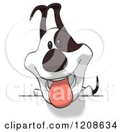 Cartoon Of A Cartoon Jack Russell Terrier Dog Over A Sign Royalty Free Clipart