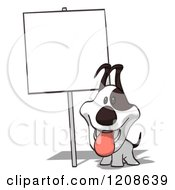 Cartoon Of A Cartoon Jack Russell Terrier Dog Under A Posted Sign Royalty Free Clipart