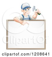 Happy Carpenter Man Holding A Hammer And Pointing Down To A White Board Sign