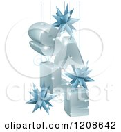Cartoon Of A 3d Christmas Sale With Suspended Star Baubles Royalty Free Vector Clipart