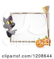 Black Cat Pointing To A White Board Halloween Sign With Pumpkins And A Broomstick