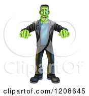 Cartoon Of A Happy Halloween Frankenstein Walking With His Arms Out Royalty Free Vector Clipart by AtStockIllustration