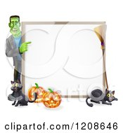 Cartoon Of A Happy Frankenstein With Cats A Broomstick And Halloween Pumpkins Pointing To A White Board Sign Royalty Free Vector Clipart by AtStockIllustration