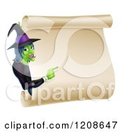 Cartoon Of A Green Halloween Witch Pointing To A Scroll Sign Royalty Free Vector Clipart