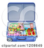 Cartoon Of A Packed Travel Suitcase With Summer Gear Royalty Free Vector Clipart by AtStockIllustration