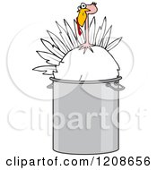 Cartoon Of A Live Turkey Bird In A Pot Royalty Free Vector Clipart