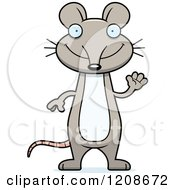 Cartoon Of A Waving Skinny Mouse Royalty Free Vector Clipart