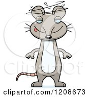 Cartoon Of A Drunk Skinny Mouse Royalty Free Vector Clipart