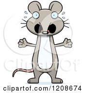 Cartoon Of A Scared Skinny Mouse Royalty Free Vector Clipart