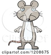 Cartoon Of A Depressed Skinny Mouse Royalty Free Vector Clipart