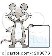 Cartoon Of A Happy Skinny Mouse By A Sign Royalty Free Vector Clipart