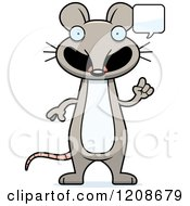 Cartoon Of A Talking Skinny Mouse Royalty Free Vector Clipart
