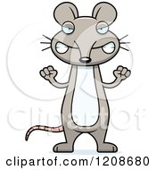 Cartoon Of A Mad Skinny Mouse Royalty Free Vector Clipart