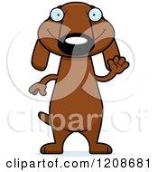 Waving Skinny Dachshund Dog