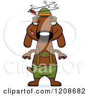 Cartoon Of A Drunk Skinny German Oktoberfest Dachshund Dog Wearing Lederhosen Royalty Free Vector Clipart by Cory Thoman