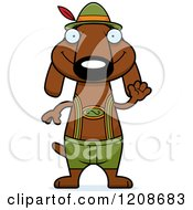 Cartoon Of A Waving Skinny German Oktoberfest Dachshund Dog Wearing Lederhosen Royalty Free Vector Clipart