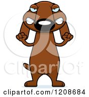 Cartoon Of A Mad Skinny Dachshund Dog Royalty Free Vector Clipart