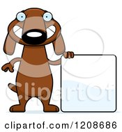 Cartoon Of A Happy Skinny Dachshund Dog With A Sign Royalty Free Vector Clipart by Cory Thoman