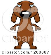 Cartoon Of A Sly Skinny Dachshund Dog Royalty Free Vector Clipart by Cory Thoman