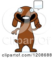 Cartoon Of A Talking Skinny Dachshund Dog Royalty Free Vector Clipart by Cory Thoman