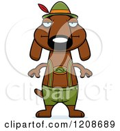 Cartoon Of A Bored Skinny German Oktoberfest Dachshund Dog Wearing Lederhosen Royalty Free Vector Clipart by Cory Thoman