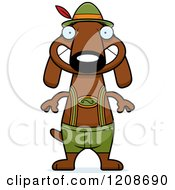 Cartoon Of A Grinning Skinny German Oktoberfest Dachshund Dog Wearing Lederhosen Royalty Free Vector Clipart by Cory Thoman