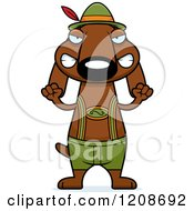 Cartoon Of A Mad Skinny German Oktoberfest Dachshund Dog Wearing Lederhosen Royalty Free Vector Clipart by Cory Thoman