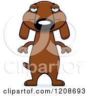 Cartoon Of A Bored Skinny Dachshund Dog Royalty Free Vector Clipart by Cory Thoman