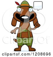 Cartoon Of A Talking Skinny German Oktoberfest Dachshund Dog Wearing Lederhosen Royalty Free Vector Clipart by Cory Thoman