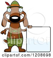Cartoon Of A Happy Skinny German Oktoberfest Dachshund Dog Wearing Lederhosen Royalty Free Vector Clipart by Cory Thoman