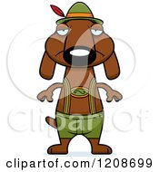 Cartoon Of A Depressed Skinny German Oktoberfest Dachshund Dog Wearing Lederhosen Royalty Free Vector Clipart