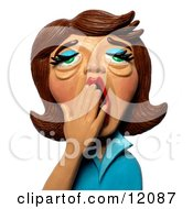 3d Tired Brunette Woman Yawning