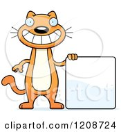 Cartoon Of A Skinny Ginger Cat By A Sign Royalty Free Vector Clipart