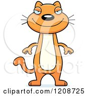 Cartoon Of A Happy Skinny Ginger Cat Royalty Free Vector Clipart