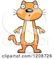 Cartoon Of A Surprised Skinny Ginger Cat Royalty Free Vector Clipart