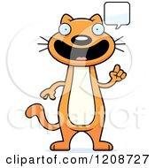 Cartoon Of A Talking Skinny Ginger Cat Royalty Free Vector Clipart