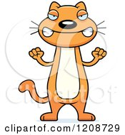 Cartoon Of A Mad Skinny Ginger Cat Royalty Free Vector Clipart