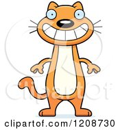 Cartoon Of A Grinning Skinny Ginger Cat Royalty Free Vector Clipart