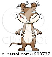 Cartoon Of A Drunk Skinny Bandicoot Royalty Free Vector Clipart