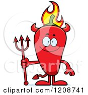 Cartoon Of A Happy Flaming Red Chili Pepper Devil Mascot Royalty Free Vector Clipart
