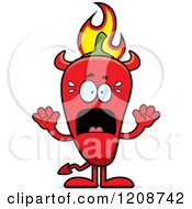 Cartoon Of A Scared Flaming Red Chili Pepper Devil Mascot Royalty Free Vector Clipart