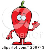 Cartoon Of A Waving Red Chili Pepper Mascot Royalty Free Vector Clipart