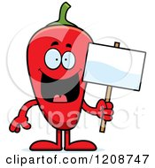 Cartoon Of A Red Chili Pepper Mascot Holding A Sign Royalty Free Vector Clipart by Cory Thoman