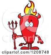 Cartoon Of A Surprised Flaming Red Chili Pepper Devil Mascot Royalty Free Vector Clipart by Cory Thoman