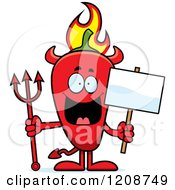 Cartoon Of A Flaming Red Chili Pepper Devil Mascot Royalty Free Vector Clipart by Cory Thoman