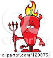 Cartoon Of A Sick Flaming Red Chili Pepper Devil Mascot Royalty Free Vector Clipart by Cory Thoman