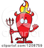Cartoon Of A Waving Flaming Red Chili Pepper Devil Mascot Royalty Free Vector Clipart by Cory Thoman
