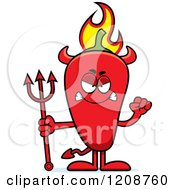 Cartoon Of A Mad Flaming Red Chili Pepper Devil Mascot Royalty Free Vector Clipart by Cory Thoman