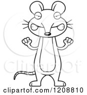 Cartoon Of A Black And White Mad Skinny Mouse Royalty Free Vector Clipart